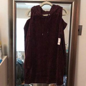 purple velvet cold shoulder hoodie